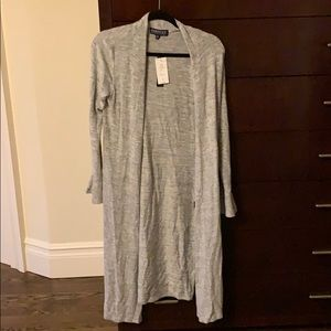 Open knit heather gray cardigan NWT bell sleeves